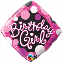 "Birthday Girl Pink & Black Foil Balloon (18"") 1pc"